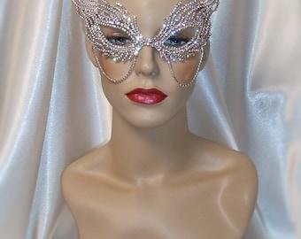 Crystal Rhinestone Metal Masquerade Mask, Mardi Gras Mask, Masquerade Ball Mask, Jeweled Bridal Mask, Ice Queen Mask