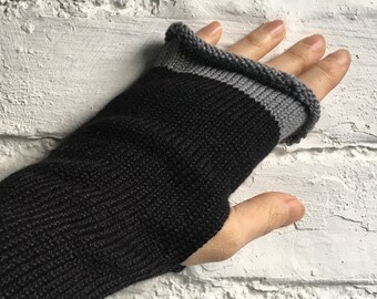 Black Fingerless Gloves, Black Alpaca Gloves, Black Knit Gauntlets, Black Wrist Warmers, Black Alpaca Wristlets, Black Arm Warmers, UK Glove