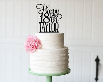 18th Birthday Cake Topper - Happy 18th Cake Topper Personalized with Name - Any Age Needed