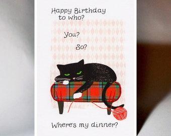 Birthday Bored Cat Card WWBI133