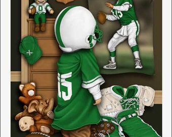The New Backup, Young Football Player Signed Sports Fine Art Print