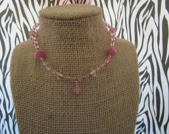 Round Pink Beaded Choker
