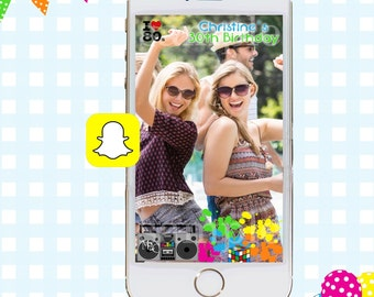 Snapchat GeoFilters, Birthday Snapchat Filters, Snapchat Filter, 80s Theme Snapchat GeoFilter, 80s Theme Birthday Party, 80s Party Geofilter