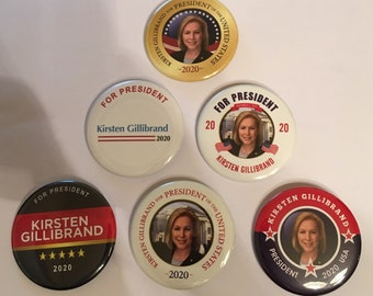 Kristen Gillibrand For President Set of 6 Campaign Buttons (GILLIBRAND-ALL)