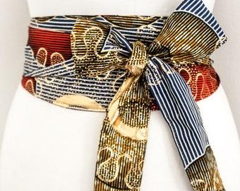 Gold African Print Obi Belt l Ankara Print Sash Belt | Wax Print Corset Belt | African Obi Belt |Plus size belts| African Wax Print Obi Belt