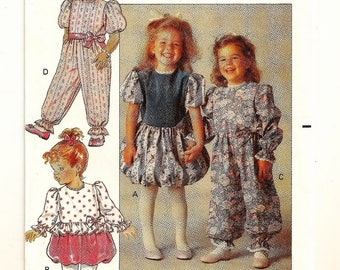 """A Short or Long Sleeve Bubble Hem Dress or Jumpsuit Party Pants Sewing Pattern: Uncut - Toddler Sizes 1-2-3, Breast 20""""-22"""" • Butterick 5132"""