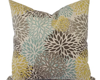 Brown Yellow and Blue Decorative Pillow Covers - Two Floral Throw Pillow Covers - Yellow Pillow - Spa Blue Pillow - Brown Pillow Sham