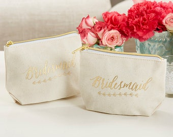 Bridesmaid Makeup Bag - Gold Foil Ivory Canvas with Zipper - Wedding Gift Bachelorette Party Favor - Cosmetic Zipper Pouch - MW35633