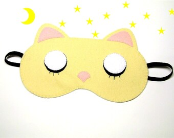 Sleep mask Cat felt Pajamas Spa night sleep party favors soft eye traveling wedding sleeping accessory - Gift for girl kids her him