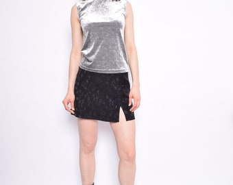Vintage 90's Velvet Mock Neck Top /  Silver Sleeveless Blouse / Floral Gray Velvet Blouse  - Size Medium