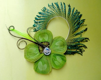 ALLY II Lime Green Peacock Feather Flower Hair Clip, Feather Fascinator