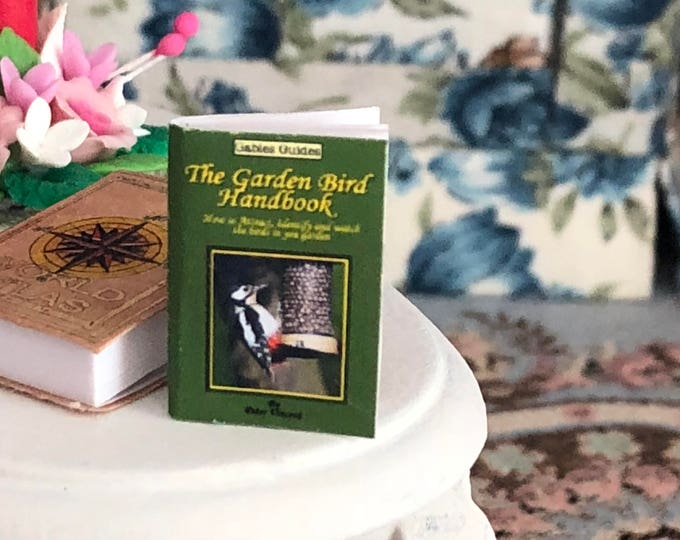 Featured listing image: Miniature Book, Garden Bird Handbook, Dollhouse Miniature, 1:12 Scale, Dollhouse Mini Book, Accessory, Decor, Crafts, Embellishment