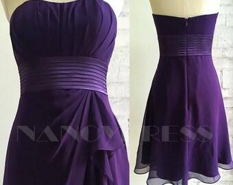 Purple Cocktail Dress , Strapless Chiffon Wedding Dress ,A Line bridesmaid dress, Formal Dress Slim Satin Belt , Knee Length Dress