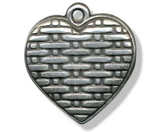 Metal 30mm antique silver heart pendant