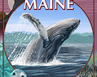 Maine - Wildlife Montage (Art Prints available in multiple sizes)