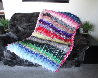 NEW! gift idea crochet afghan/throw soft  fuzzy multicolor very beautiful colorfuls