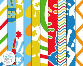 Autism Hands Digital Scrapbooking Paper Pack, Proceeds to Charity. Instant Download