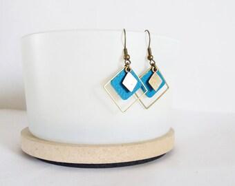 Earrings graphic leather triple Azure Blue Diamond