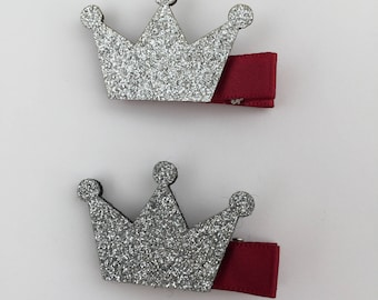 Silver Shiny Crown - Girls Hair Clip - Baby Girl Hair Clips - Kids Hair Clips