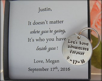 Groom Gift, To GROOM from Bride, Anniversary gift for husband, Groom keychain, Bride to Groom gift, wedding date keychain