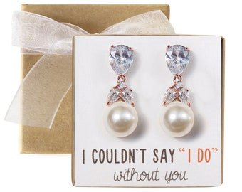 Drop Pearl Earring Bridesmaid Gift Maid of Honor Gift Rose Gold Pearl Jewelry Rose Gold Drop Earring Bridesmaid Earring Bridal Gift E194-RG2