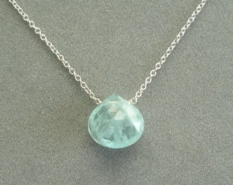 single aquamarine on solid 14k white gold chain