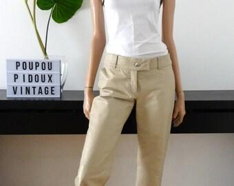CACHAREL beige leather pants size 38 - us 6 - 10 uk