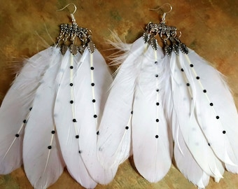 Awesome Long White Feather Dangle Earrings