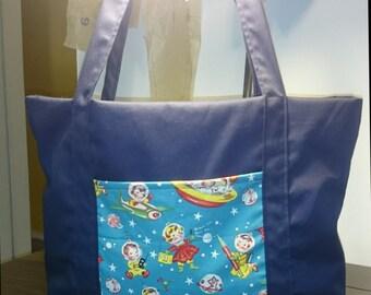 Outer space rocket ship bag purse