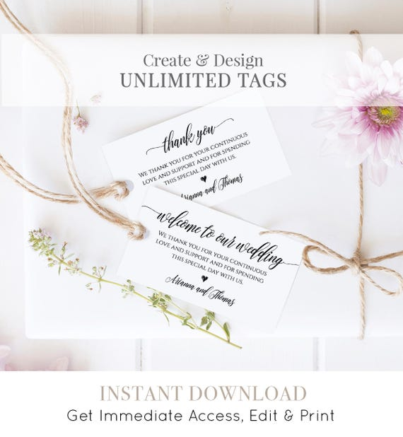 Wedding Favor Tag Template, Welcome Bag Tag, Thank You Tag, Printable, 100% Editable, Instant Download, DIY 3.5x2 #023-102TG 020 022 014