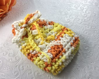 Crochet Soap Saver   Gift for Her 100% Cotton Handmade Yellow Cotton Bath Spa Accessory Reusable Cotton bath item eco friendly