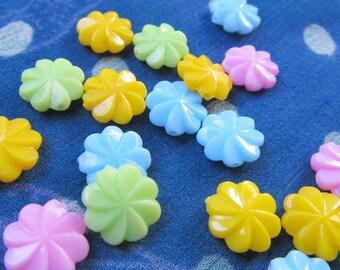 vintage FLOWER BEADS pastel colors --50 pieces
