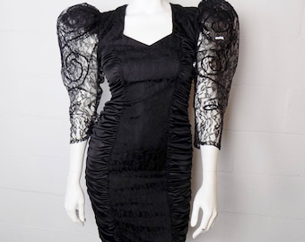 Vintage 80's Mayven Black Ruched Form Fitting Dress With Lace Poof Sleeves Size 7