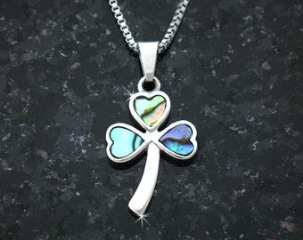 Full of Faith Abalone Shamrock Necklace (S107)