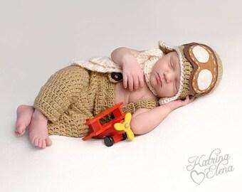 Newborn Aviator Prop/Pilot Photo Prop/ Airplane Newborn Prop/ Baby Shower Gift/ Baby Boy Prop/Newborn Photo Prop/Pilot Hat with Googles