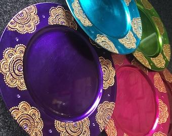 Mehndi Plates Images : Handmade charger plate henna thaal mehndi pooja