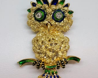 18K Gold and Enameled Owl Brooch