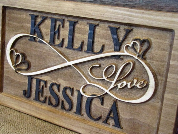 Personalized Couples Name Infinity Sign Carved Custom Wooden
