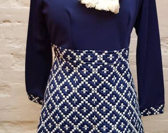 60s mod mini dress with front scarf detail.