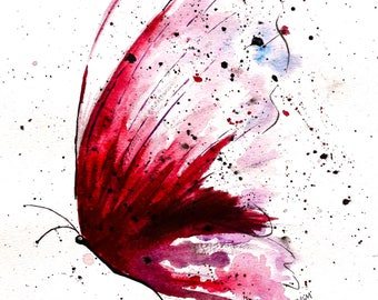 Beautiful Butterfly, Art Print of Oringinal Watercolor Painting, 5x7, and 8x10