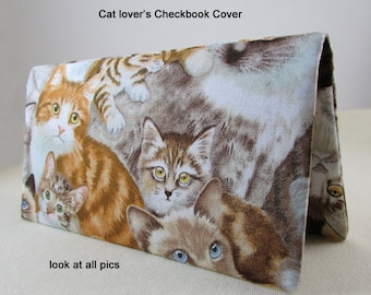 Kittens Cats Checkbook Cover - Coupon Holder - Kitties Check Book Cover - Check Holder - Cat Checkbook - Kitten Checkbook Gift Idea