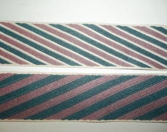 "Reversible Tapestry Ribbon Trim Dark Green Mauve Pink Stripe Conso Woven 4 Yards Long 2"" Wide Woven Jacquard"