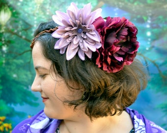 Purple Flower Circlet, Wedding Headpiece, Bridal Crown, Fairy Circlet, Fairy Headpiece, Floral Circlet, Flower Crown, Floral Crown