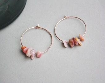 Rose Glass Gilt Earrings