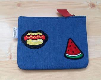 Denim purse,denim coin purse,patches denim,denim change purse,watermelon purse,hotdog coin purse,patches bag,denim patches,zippered pouch