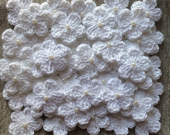 30 Crochet flowers with Pearl White- Soft Cotton - Size 3cm