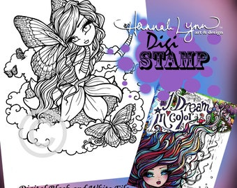 PRINTABLE Digi Stamp Butterfly Fairy Coloring Page I Dream in Color Fun Fantasy Art Hannah Lynn