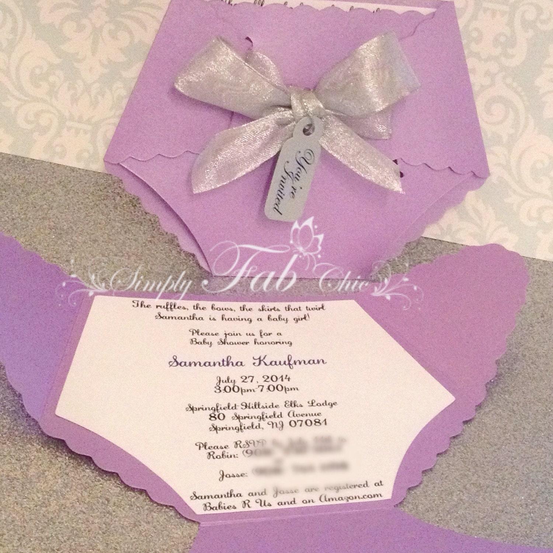 Lavender Baby Shower Diaper Invitation / Diaper Invitation