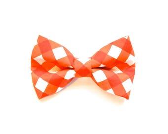Orange Gingham Check Dog Bow Tie