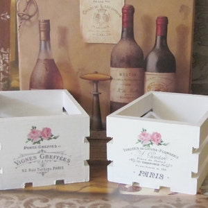 Paris Decor Crates Set, French Decor Storage, Shabby Chic French Country  Cottage , Pink